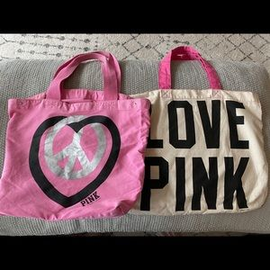 GUC 2 PINK canvas totes